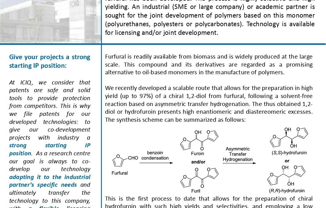 Diol from Furfural: Polyurethanes/Polyesters/Polycarbonates Monomer